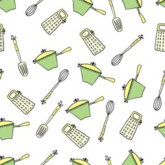 Seamless cute pattern with kitchen items. Vector illustration