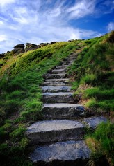 Stone Stairway with Blue Skies