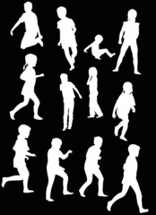 twelve child silhouettes collection isolated on black