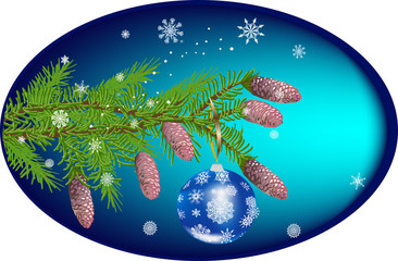 green decorated fir branch on blue background
