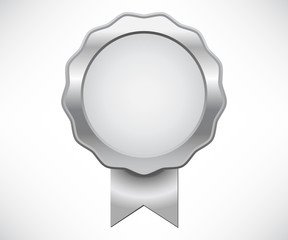 Silver seal of quality with ribbon