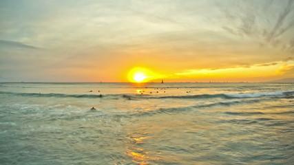 Beach Time Lapse Sunset Surfers