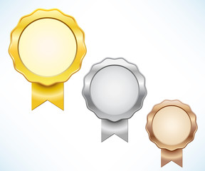 Gold, silver and bronze seal of quality