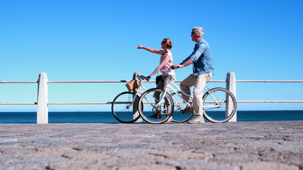 Active seniors going on a bike ride by the sea
