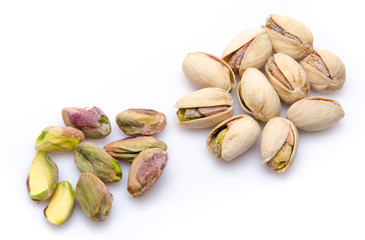 Opened and whole pistachios