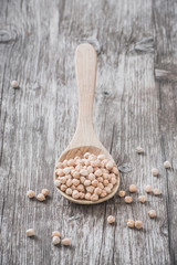 Organic chickpeas on a wooden spoon