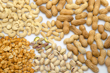 Assortiment of peanuts, cashews and pistachios