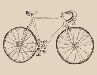 bicycle (racing bike) vintage illustration, engraved style
