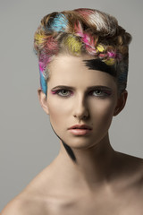 cute girl in multicolor beauty shoot