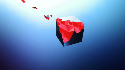 Full HD animation of an exploding cube