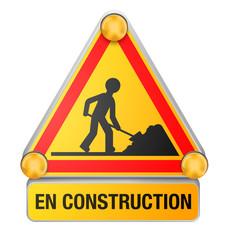 """Panneau """"En construction"""" vectoriel 1"""
