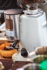 make coffee by Espresso amaricano Machine in coffee