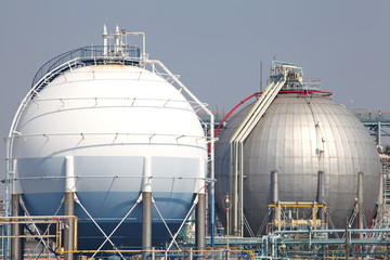 Industrial view at oil refinery plant form industry zone