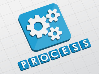 process and gear wheels symbol, flat design web icon