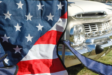 stars and stripes flag and americana classic car