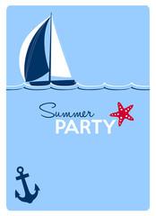 summer party invitation card, sailing boat, anchor and starfish