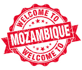 Welcome to Mozambique red grungy vintage isolated seal