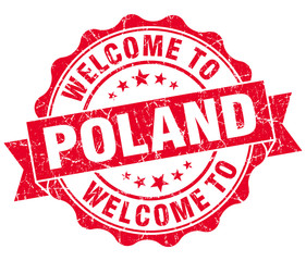 Welcome to Poland red grungy vintage isolated seal