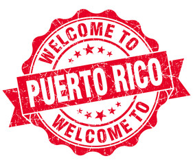 Welcome to Puerto Rico red grungy vintage isolated seal