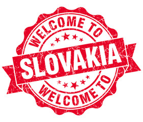 Welcome to Slovakia red grungy vintage isolated seal