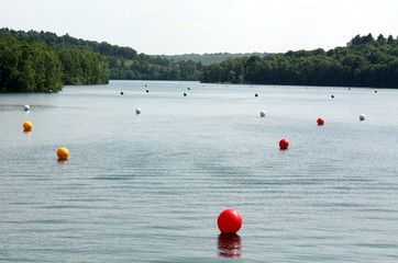 "Colored balls in the reservoir Eau""d Heure"