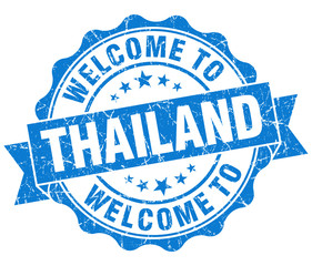 Welcome to Thailand blue grungy vintage isolated seal