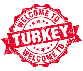 Welcome to Turkey red grungy vintage isolated seal