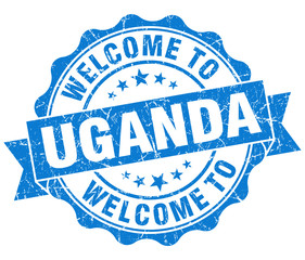 Welcome to Uganda blue grungy vintage isolated seal