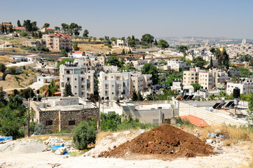New arab quarter in East Jerusalem near Mount of Olives.