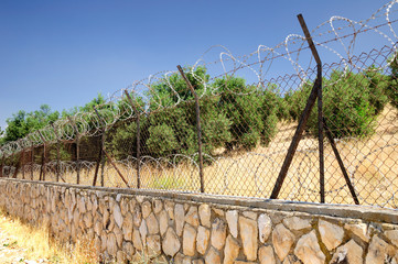Garden in Jerusalem enclosed with the barbed fire fence.
