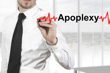 doctor drawing heartbeat line apoplexy