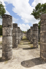 Columns in the Temple of a Thousand Warriors, Mexico