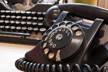 Vintage phone and typewriter