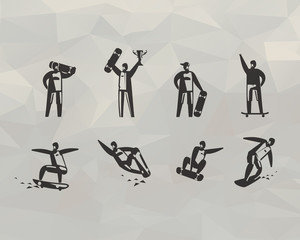 Skateboard icons. Vector format