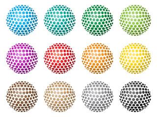 Bunte, abstrakte 3D-Kugeln aus Kreisen – Set