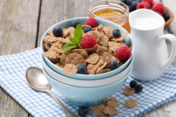cereal with berries, honey and milk, closeup
