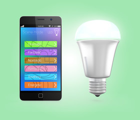Smartphone app change LED lighting in green mood