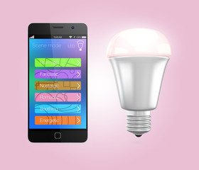 Smartphone app control LED lighting  in pink