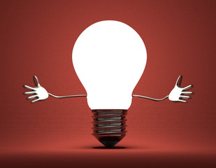 Welcoming light bulb character on red