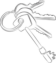 Sketched line drawing of a set of four keys on a keyring or key