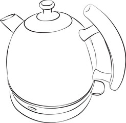Sketched line drawing of a modern electric kettle.