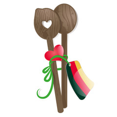 love german food, wooden spoon, heart,