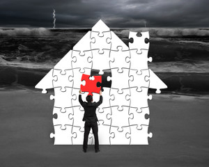Put red puzzle into house shape for bad situation