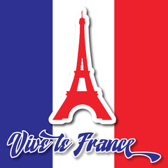 Eiffel Tower Sticker Bastille Day Card
