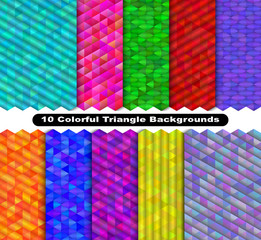 Colorful triangle background set