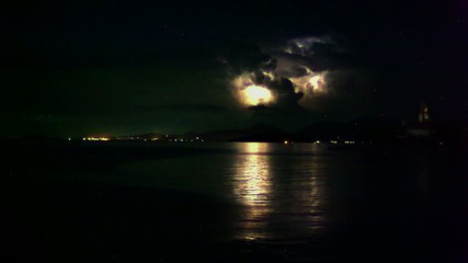 Lightning in the sea during the night time. Time lapse