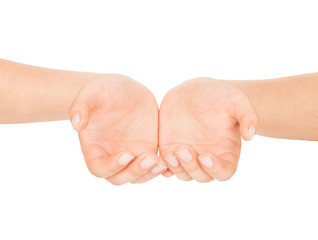 open female hands on an isolated white background