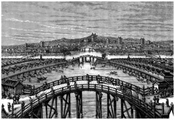 Panorama : Japanese Town (Edo) - View 19th century