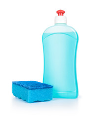 blue detergent and blue sponge on an isolated white background
