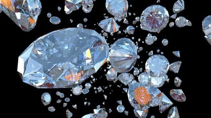 Diamonds Flying towards camera, Luma Matte